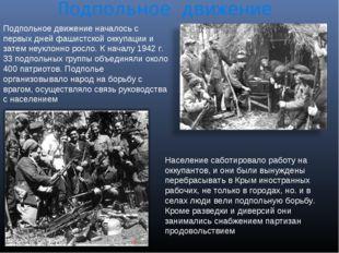 Подпольное движение Подпольное движение началось с первых дней фашистской окк