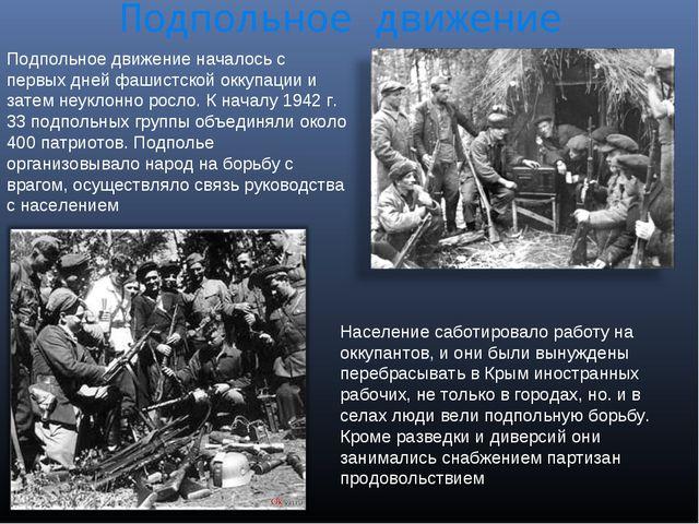 Подпольное движение Подпольное движение началось с первых дней фашистской окк...