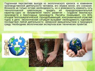 Подлинная перспектива выхода из экологического кризиса -в изменении производс
