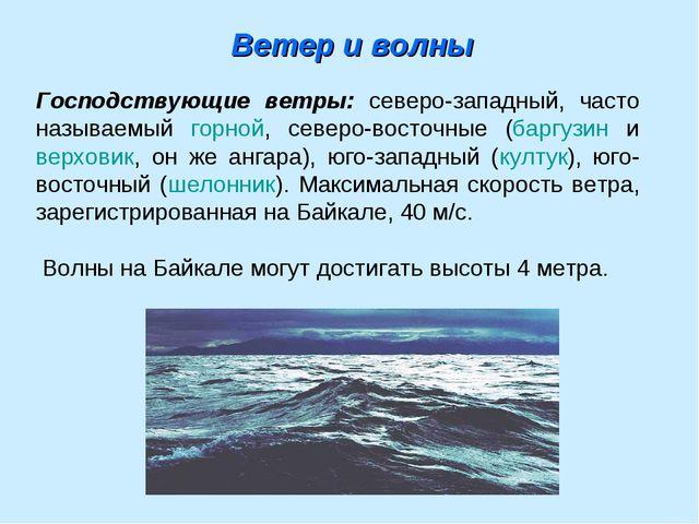 Ветер и волны Господствующие ветры: северо-западный, часто называемый горной,...