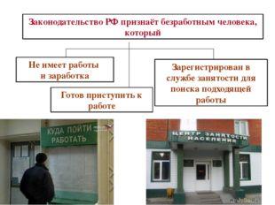 Законодательство РФ признаёт безработным человека, который Не имеет работы и