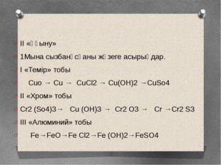 II «Ұғыну» 1Мына сызбанұсқаны жүзеге асырыңдар. I «Темір» тобы Cuo → Cu → CuС