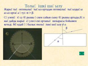 Толық ішкі шағылу β Жарықтың оптикалық тығыз ортадан оптикалық тығыздығы аз а