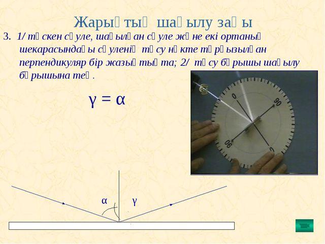 Жарықтың шағылу заңы 3. 1/ түскен сәуле, шағылған сәуле және екі ортаның шек...
