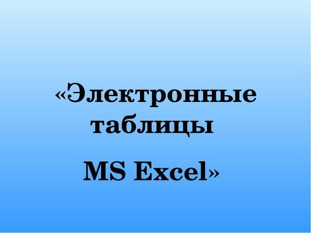 «Электронные таблицы MS Excel»
