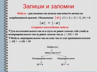 Запиши и запомни Модуль – расстояние от начала отсчета до точки на координатн