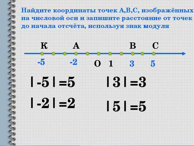 Найдите координаты точек А,В,С, изображённых на числовой оси и запишите расст...