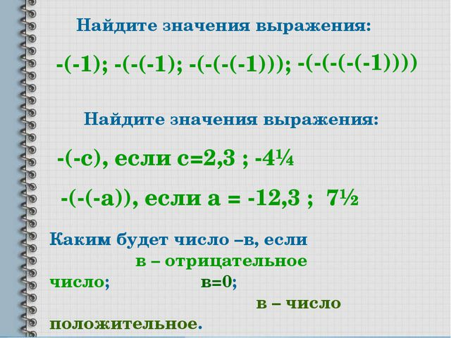 Найдите значения выражения: -(-1); -(-(-1); -(-(-(-1))); -(-(-(-(-1)))) Найди...