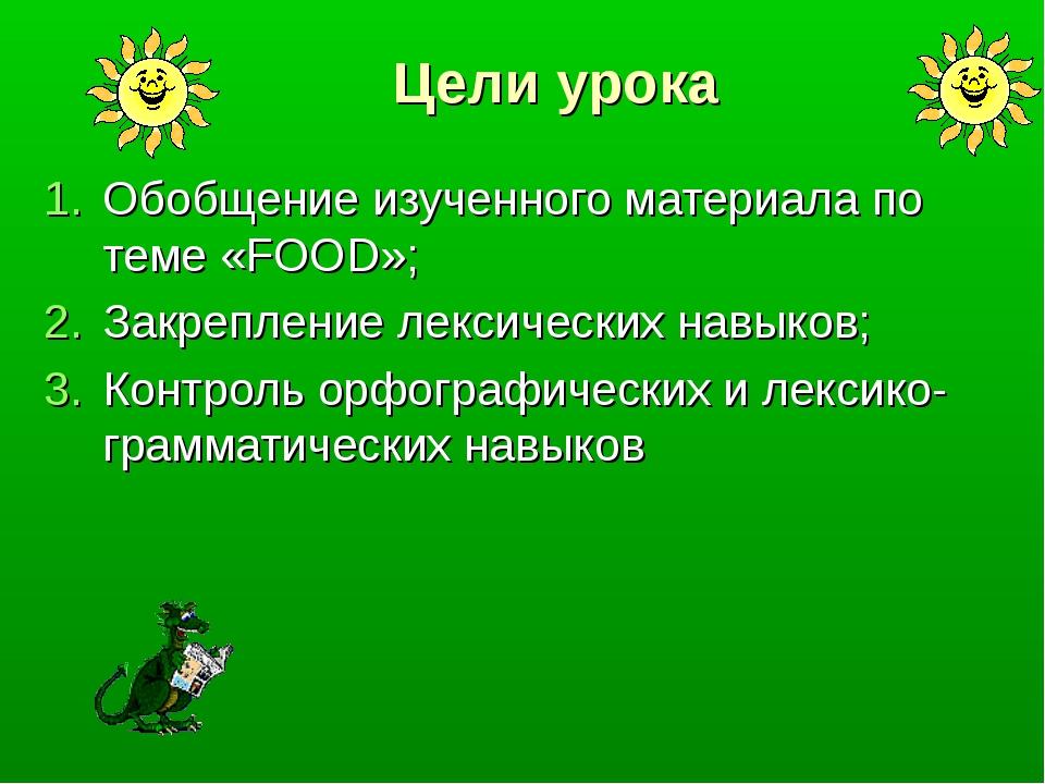 Цели урока Обобщение изученного материала по теме «FOOD»; Закрепление лексиче...