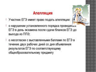 Апелляция Участник ЕГЭ имеет право подать апелляции: о нарушении установленно