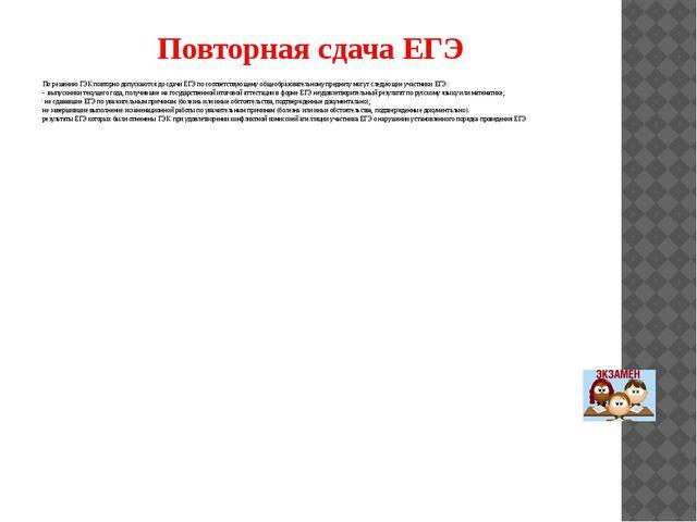 Повторная сдача ЕГЭ По решению ГЭК повторно допускаются до сдачи ЕГЭ по соотв...