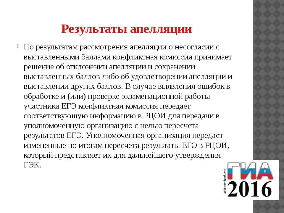 Результаты апелляции По результатам рассмотрения апелляции о несогласии с выс...