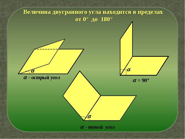 Величина двугранного угла находится в пределах от 0° до 180°   - острый уго...