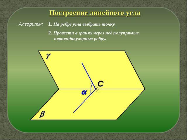 Алгоритм:   C  Построение линейного угла 1. На ребре угла выбрать точку 2....