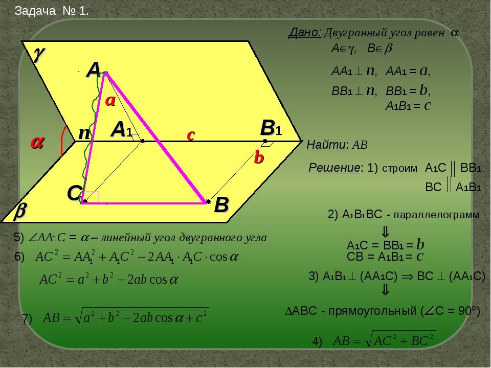 Задача № 1. Дано: Двугранный угол равен    A А, В B A1 B1 АА1  n, ВВ1...