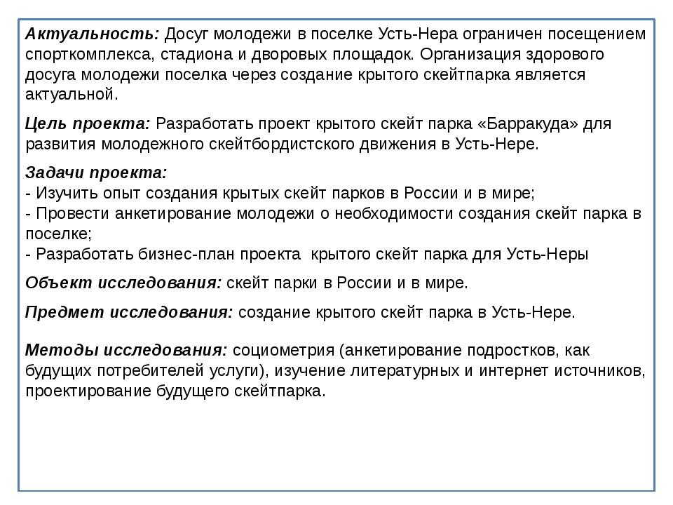 Актуальность: Досуг молодежи в поселке Усть-Нера ограничен посещением спортк...