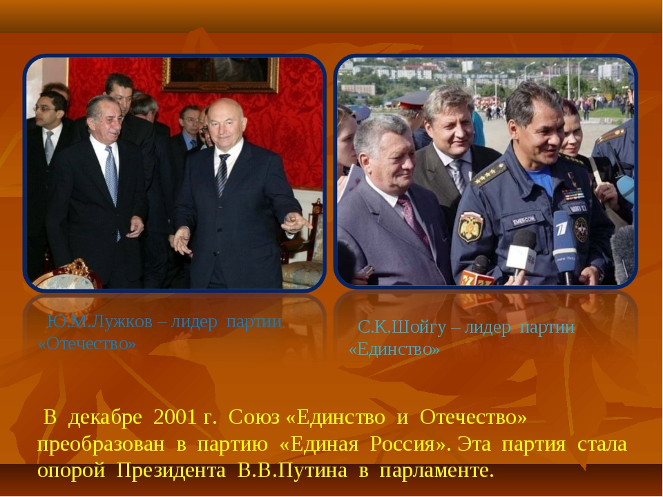 Ю.М.Лужков – лидер партии «Отечество» С.К.Шойгу – лидер партии «Единство» В...