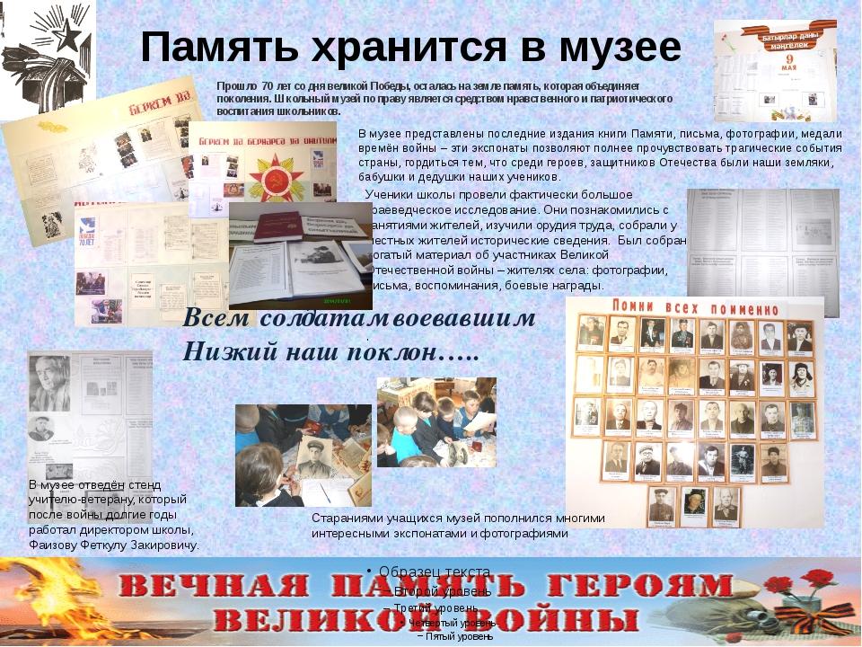 Память хранится в музее В музее представлены последние издания книги Памяти,...