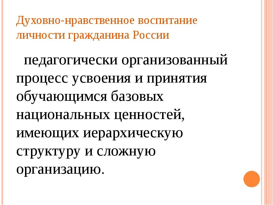 Духовно-нравственное воспитание личности гражданина России  педагогически ор...