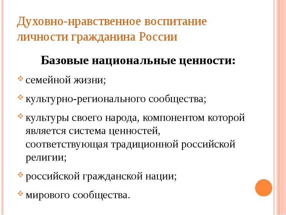Духовно-нравственное воспитание личности гражданина России Базовые национальн...