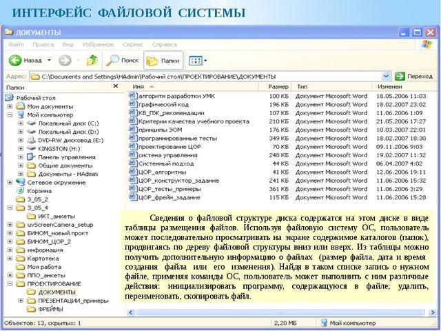 ИНТЕРФЕЙС ФАЙЛОВОЙ СИСТЕМЫ Сведения о файловой структуре диска содержатся на...