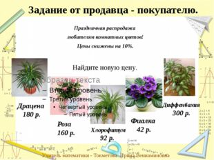 Праздничная распродажа любителям комнатных цветов! Цены снижены на 10%. Задан