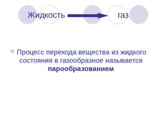 Жидкость газ Процесс перехода вещества из жидкого состояния в газообразное на
