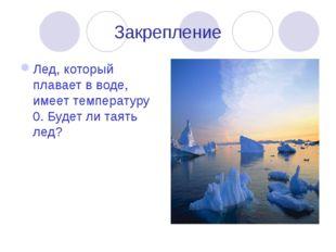 Закрепление Лед, который плавает в воде, имеет температуру 0. Будет ли таять