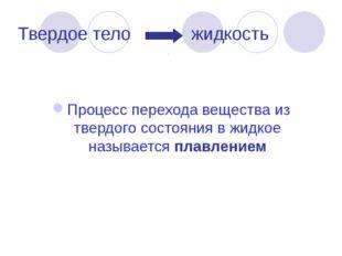 Твердое тело жидкость Процесс перехода вещества из твердого состояния в жидко