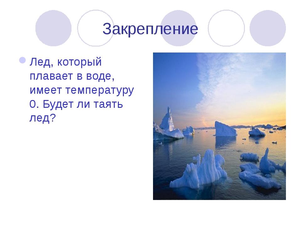 Закрепление Лед, который плавает в воде, имеет температуру 0. Будет ли таять...