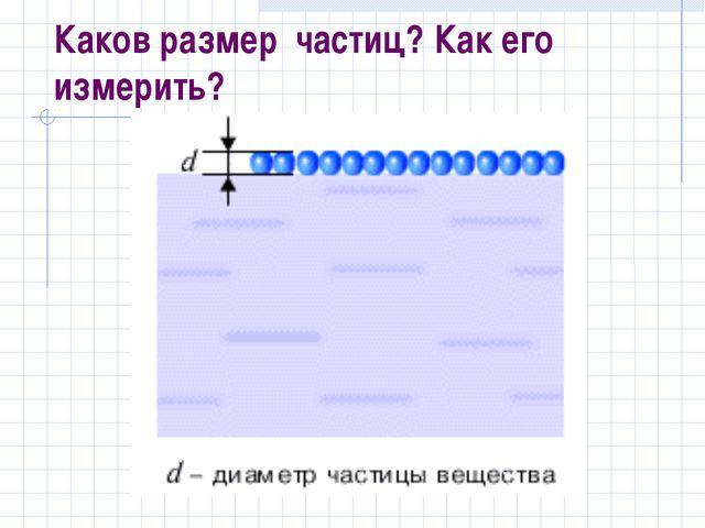 Каков размер частиц? Как его измерить?
