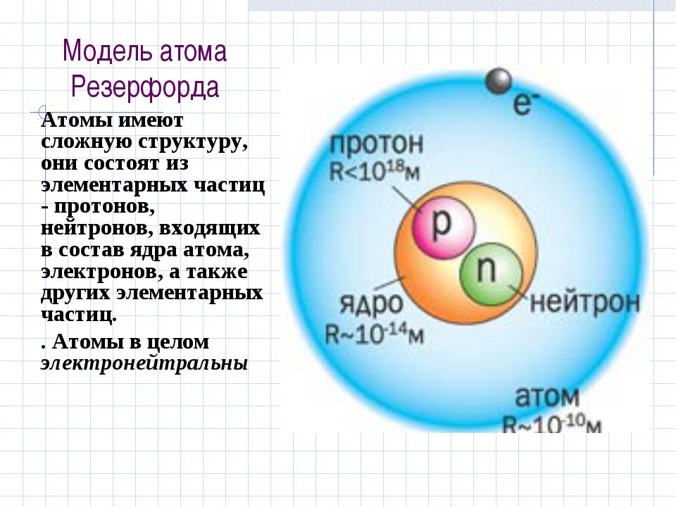 Модель атома Резерфорда Атомы имеют сложную структуру, они состоят из элемент...