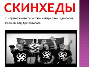 - приверженцы расистской и нацистской идеологии. Внешний вид: бритая голова.