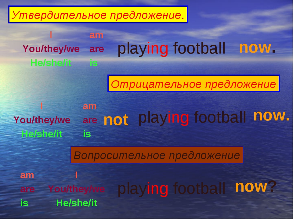 Утвердительное предложение. I You/they/we He/she/it am are is playing footbal...