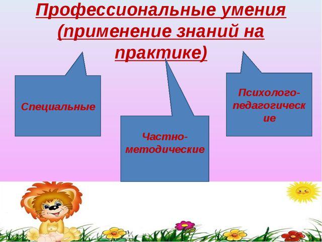 Профессиональные умения (применение знаний на практике) Частно-методические С...