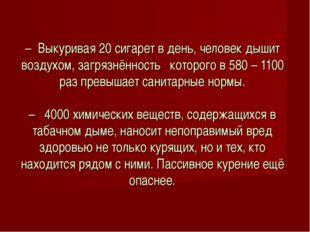 – Выкуривая 20 сигарет в день, человек дышит воздухом, загрязнённость которог
