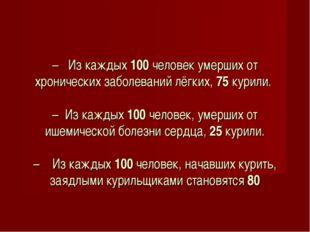 – Из каждых 100 человек умерших от хронических заболеваний лёгких, 75 курили.
