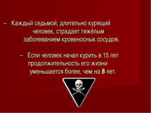 – Каждый седьмой, длительно курящий человек, страдает тяжёлым заболеванием кр