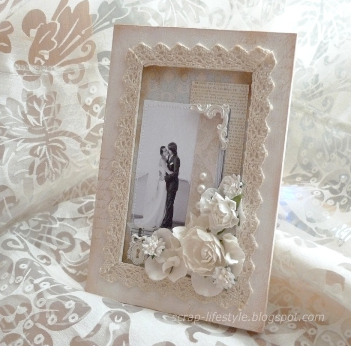 Декор свадебной рамки для фото своими руками 59