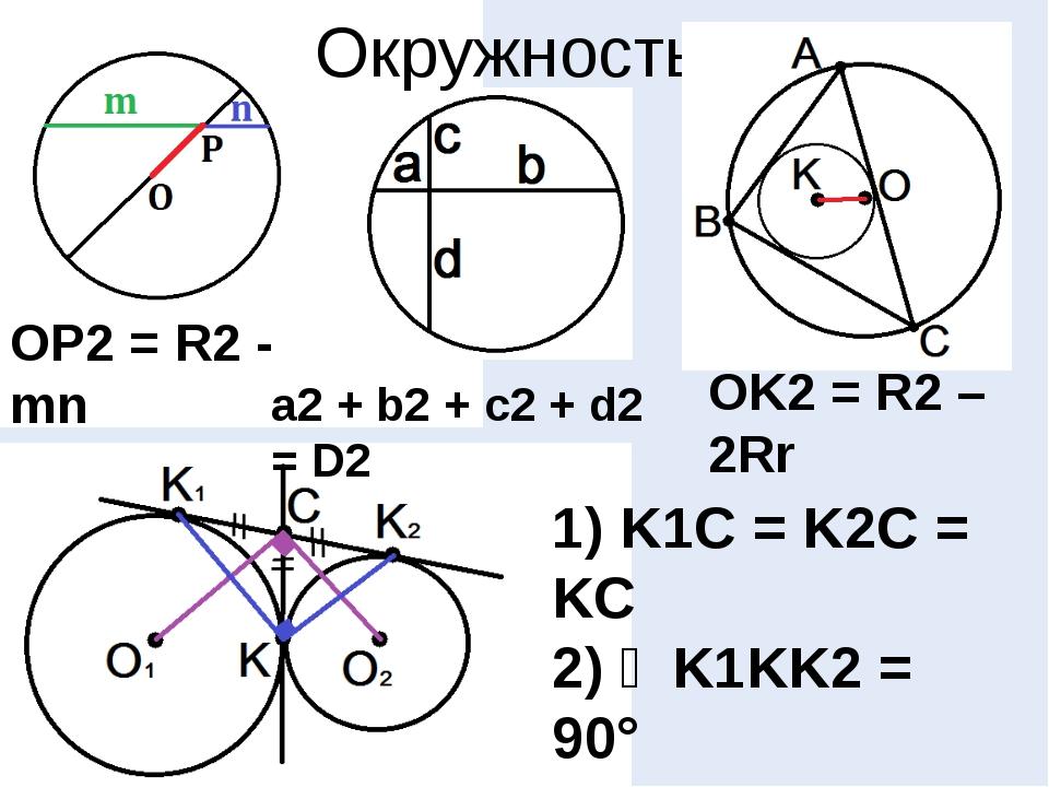 Окружность OP2 = R2 - mn a2 + b2 + c2 + d2 = D2 OK2 = R2 – 2Rr 1) K1C = K2C =...