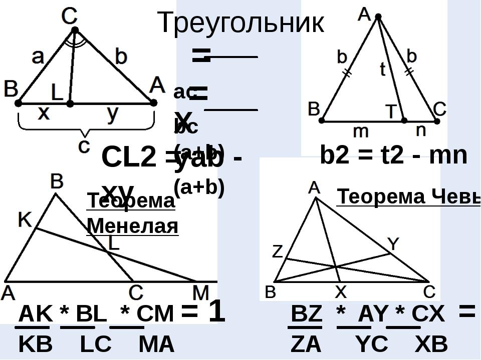 Треугольник = ac X (a+b) = bc y (a+b) CL2 = ab - xy b2 = t2 - mn Теорема Чевы...