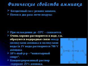 Физические свойства аммиака Бесцветный газ с резким запахом. Почти в два раза