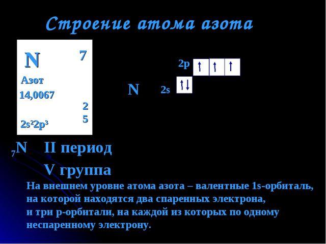 Строение атома азота N Азот 14,0067 2 5 7 2s22p3 N 7N II период V группа 2s 2...