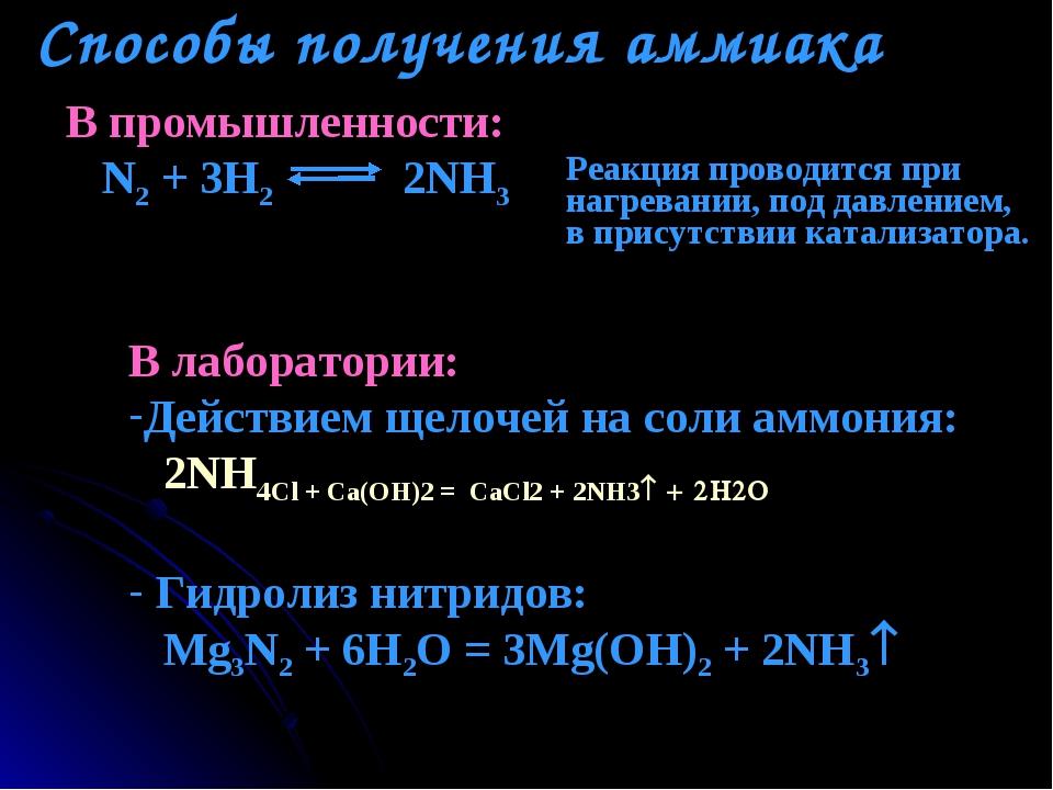 Способы получения аммиака В промышленности: N2 + 3H2 2NH3 Реакция проводится...