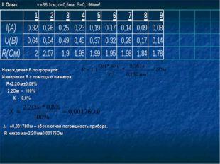 II Опыт. ℓ=36,1см; d=0,5мм; S=0,196мм². Нахождение R по формуле: Измерение R