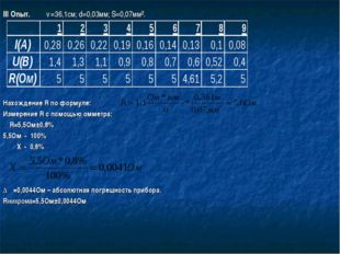 III Опыт. ℓ=36,1см; d=0,03мм; S=0,07мм². Нахождение R по формуле: Измерение