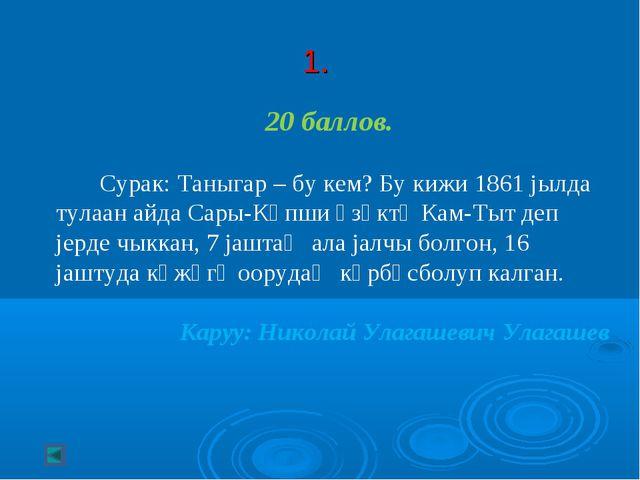 1. 20 баллов. Сурак: Таныгар – бу кем? Бу кижи 1861 jылда тулаан айда Сары-К...