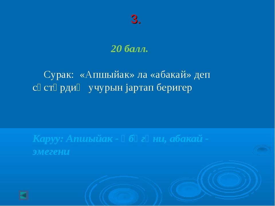 3. 20 балл. Сурак: «Апшыйак» ла «абакай» деп сӧстӧрдиҥ учурын jартап беригер...