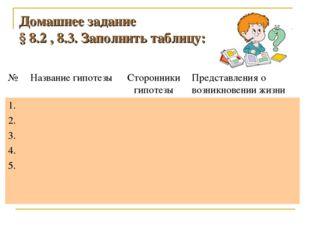 Домашнее задание § 8.2 , 8.3. Заполнить таблицу: №Название гипотезыСторонни