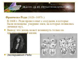 Франческо Реди (1626–1697г.) В 1668 г. Реди провел опыт с сосудами, в которы
